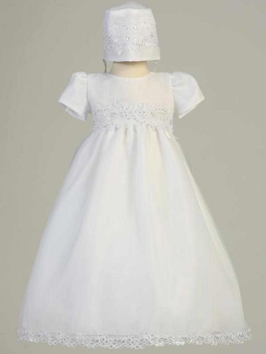 Girls White Organza Christening Gown