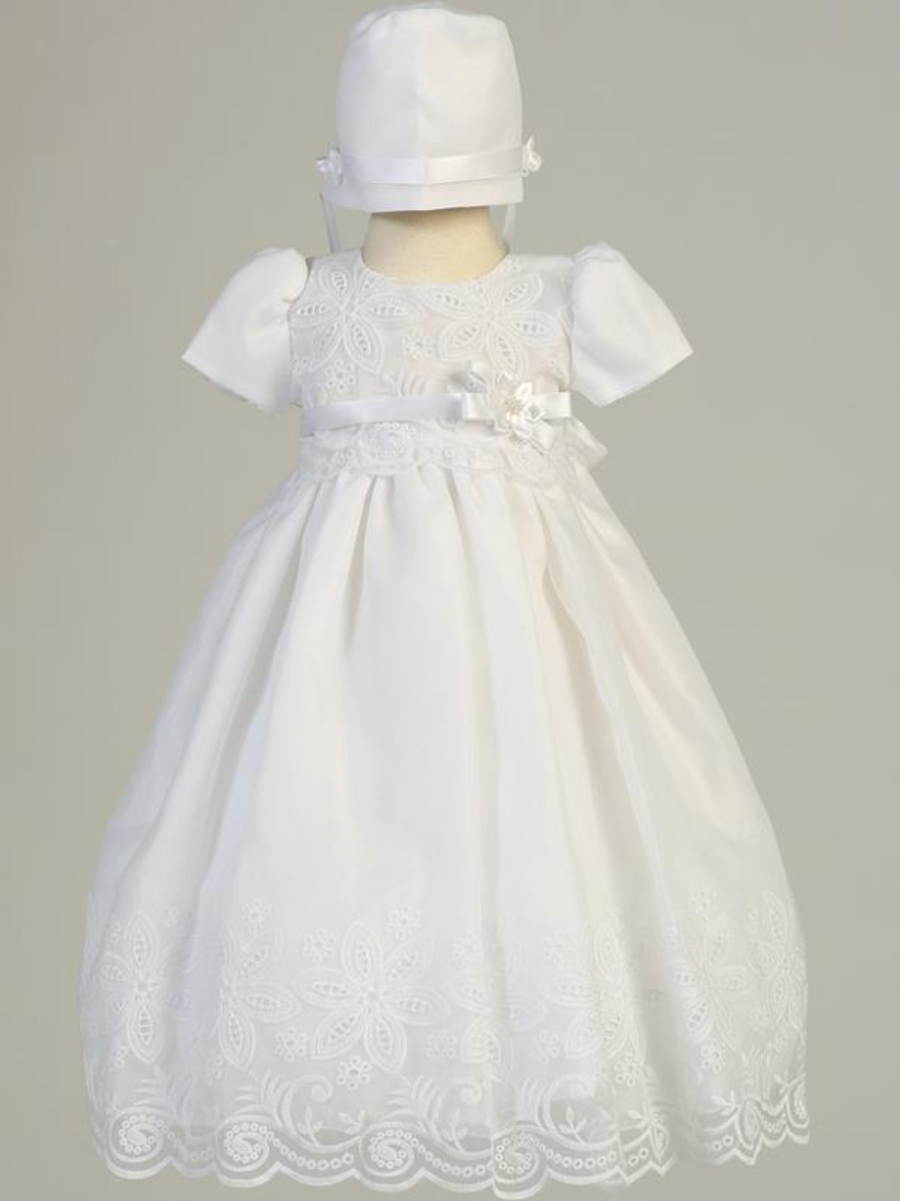 Girls White Christening Embroidered Organza Gown