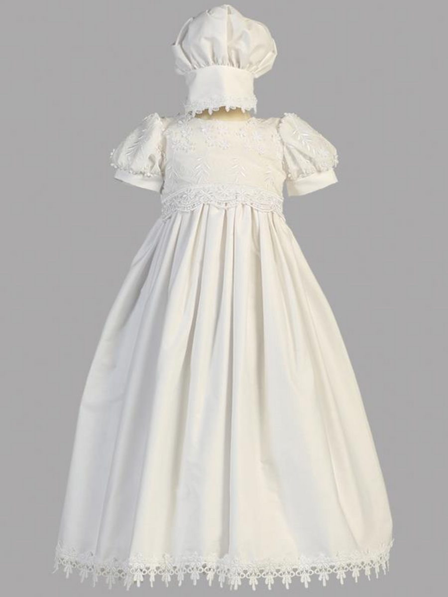 Girls White Cotton Embroidered Christening Gown