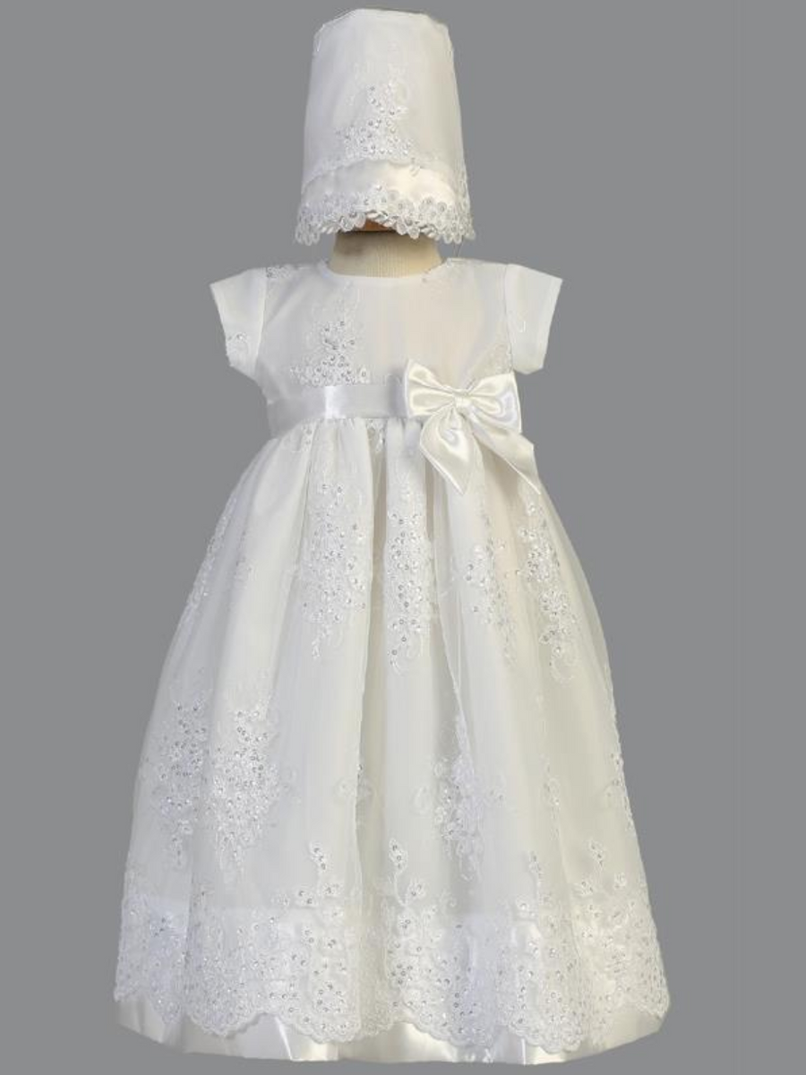 Girls White Cotton Embroidered Christening Gown with Sequins