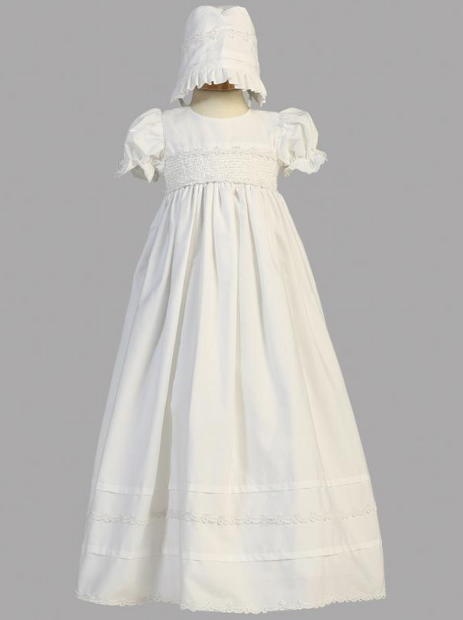 Girls White Cotton Smocked Christening Gown