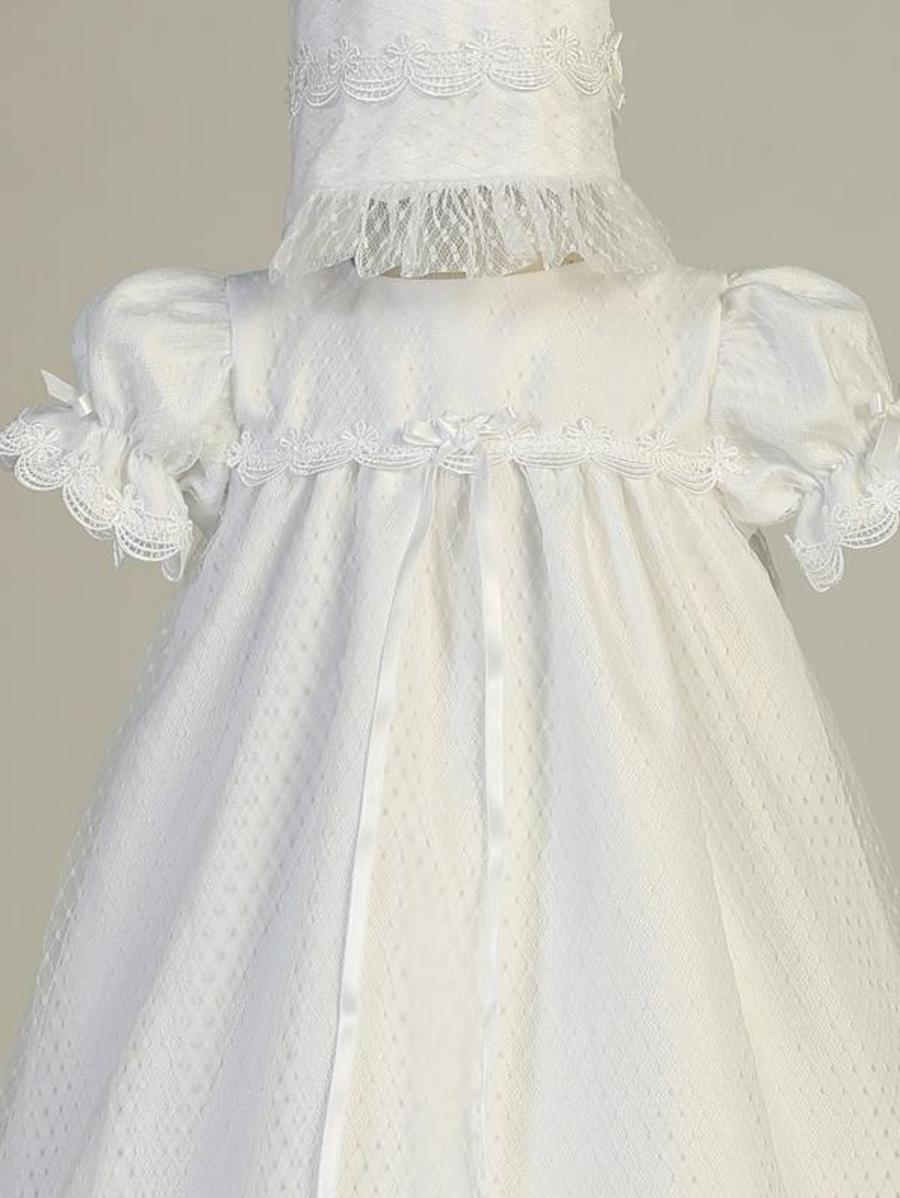 Girls White Diamond Mesh Christening Gown