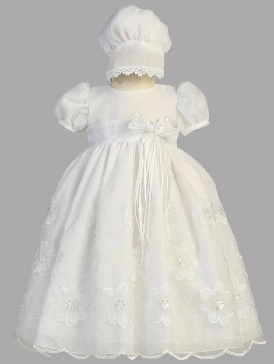 Girls Christening Gown with Embroidered Organza
