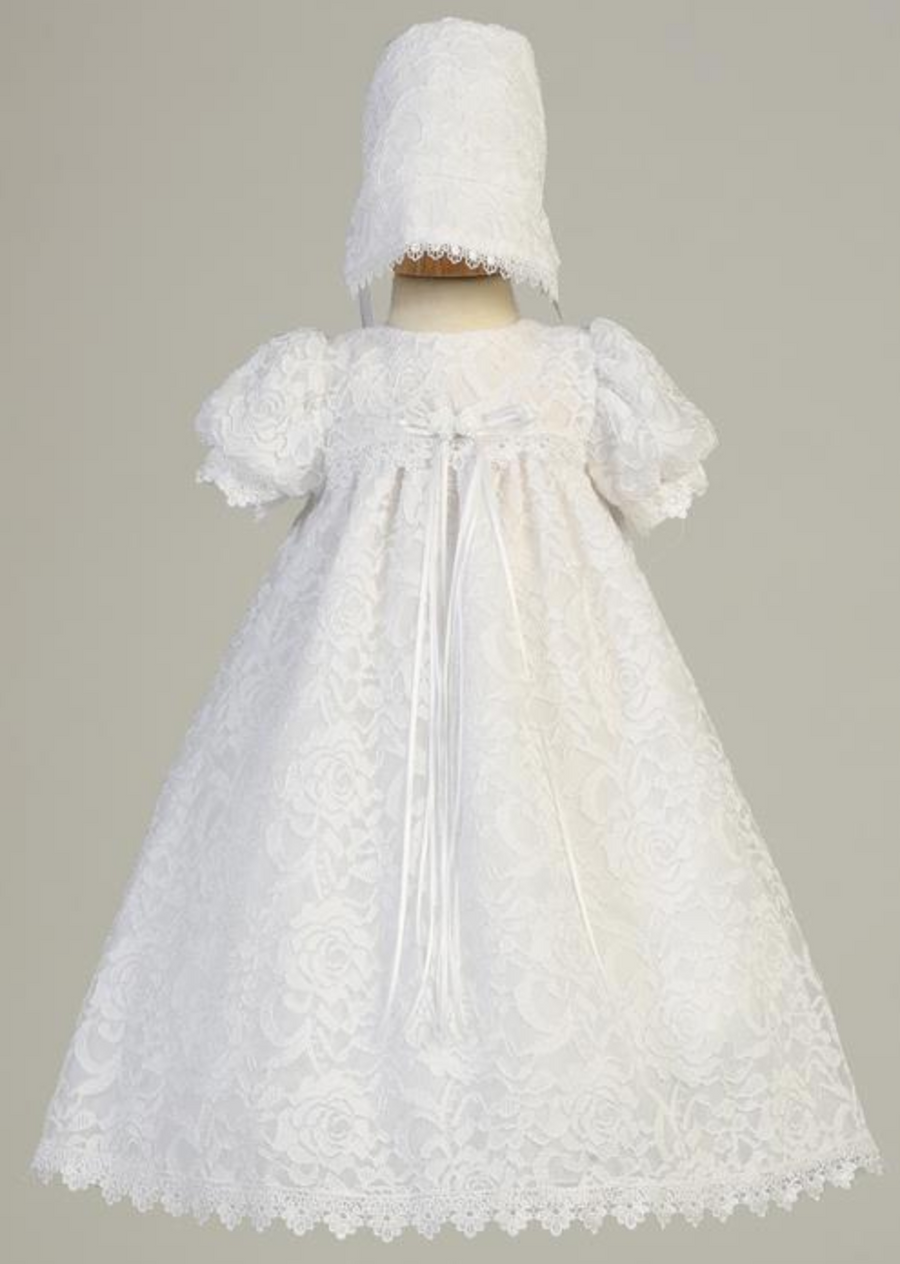 Girls White Lace Christening Gown