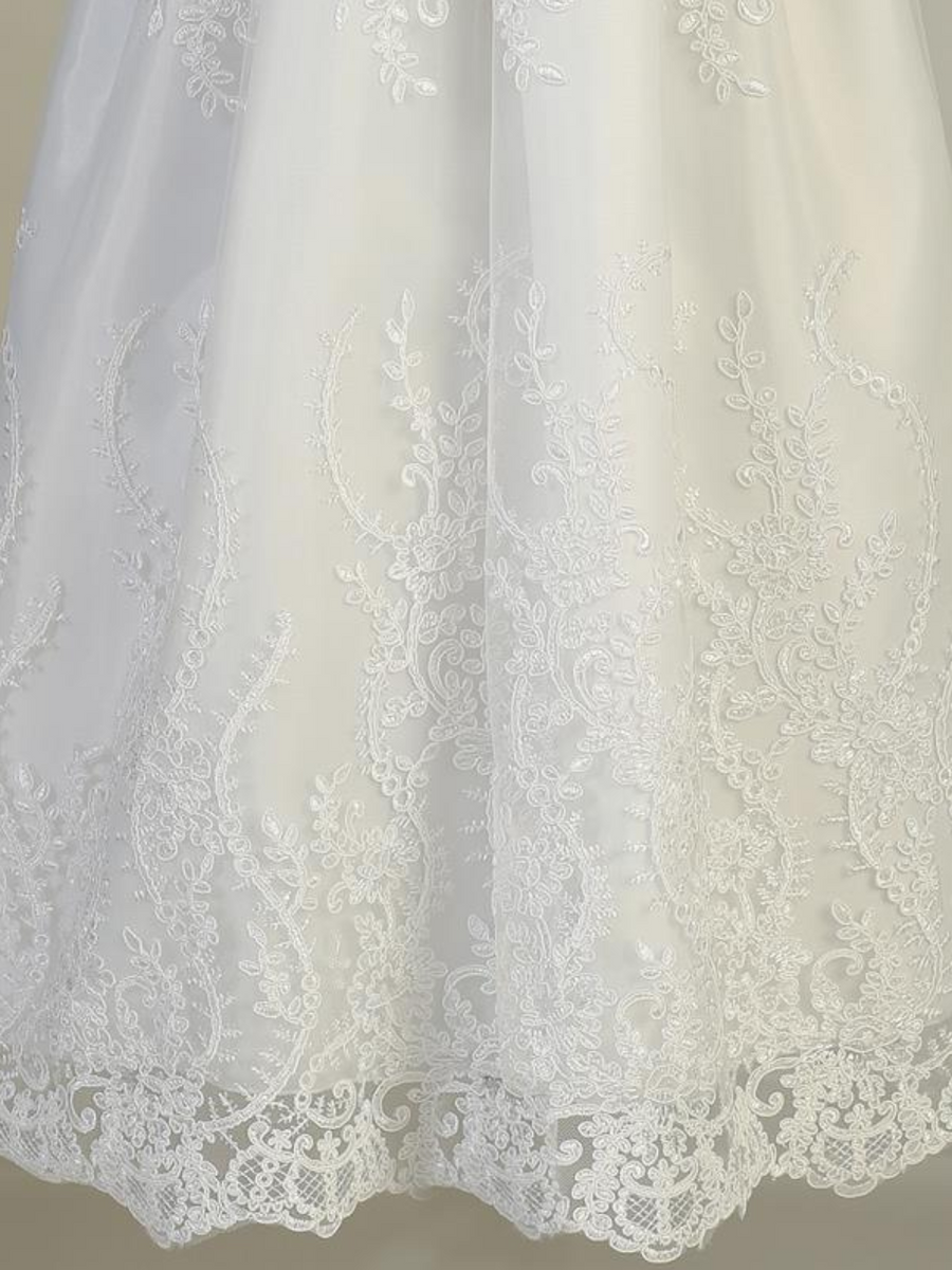 Girls White Embroidered Tulle Long Christening Gown