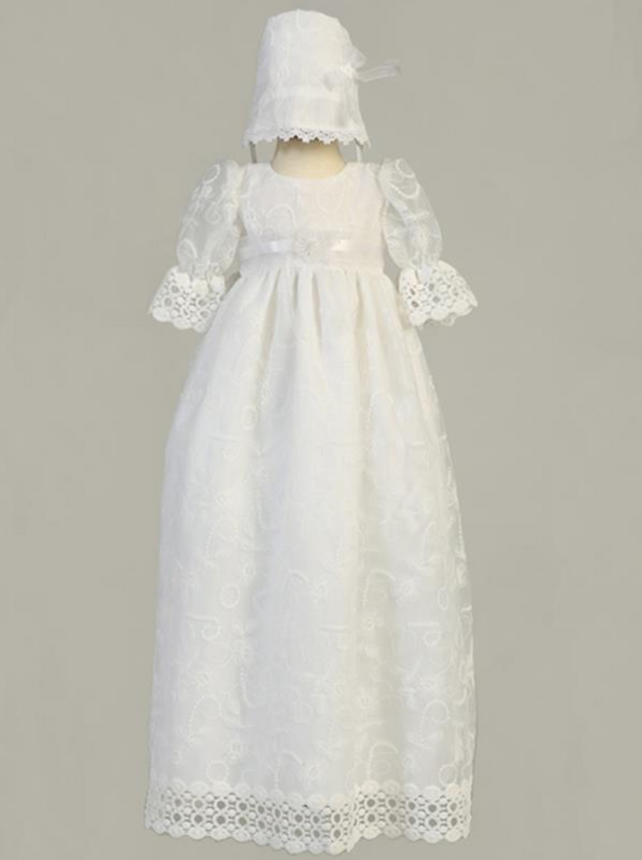 Girls White Christening Embroidered Tulle Long Gown