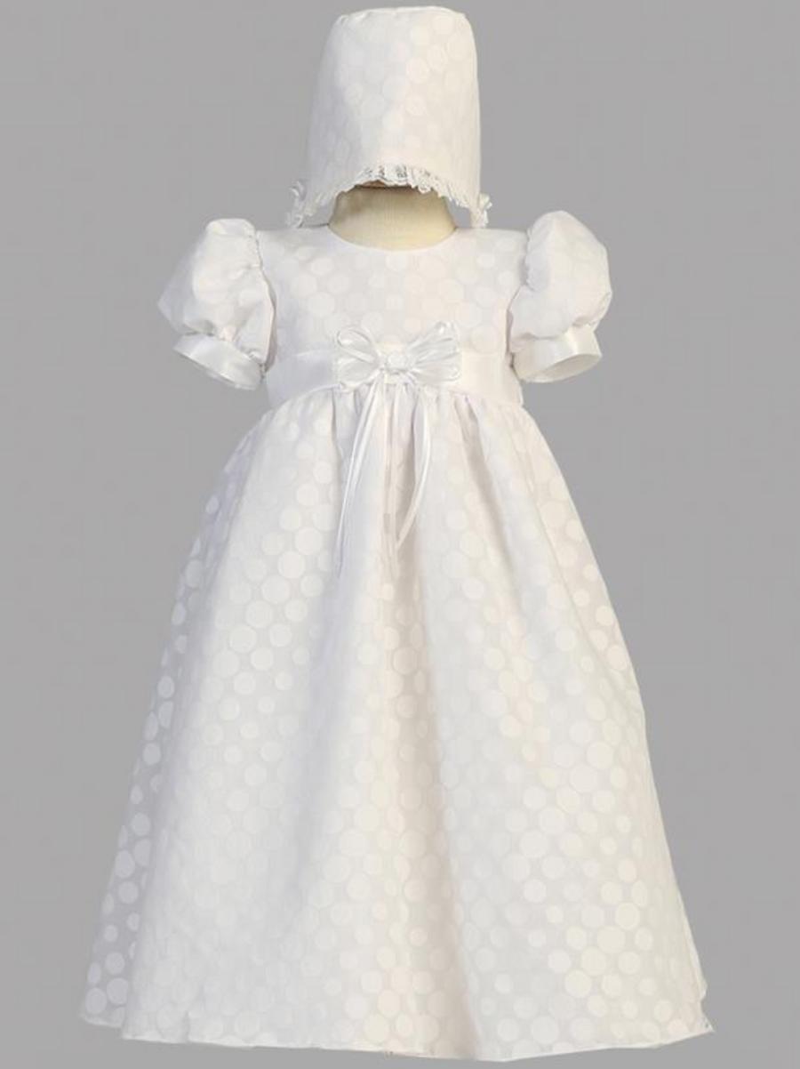 Girls White Polk-Dot Burnout Christening Gown