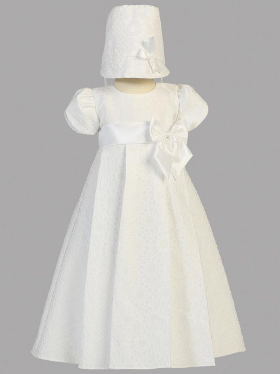 Girls White Floral Jacquard Christening Gown with Bow