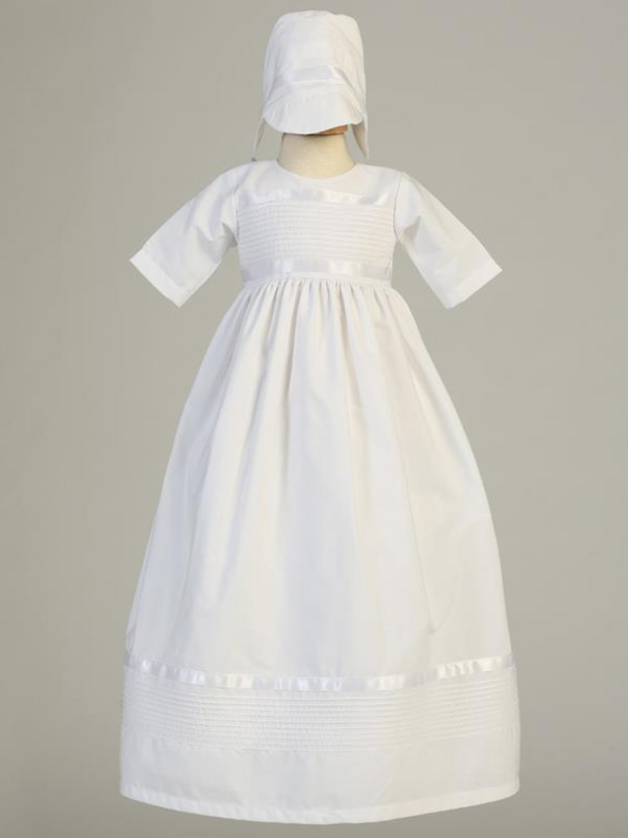 Girls White Poly-Cotton Pintuck Christening Gown, Unisex