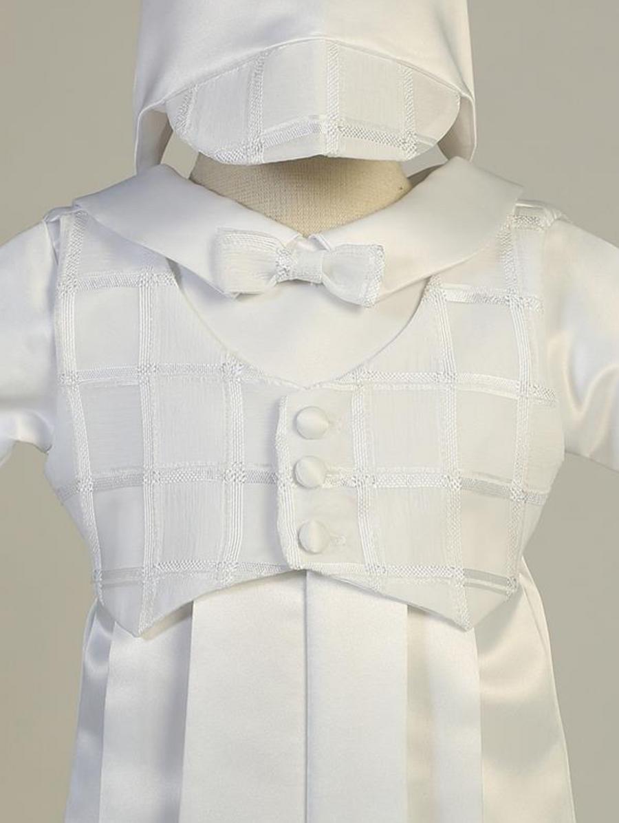 Boys White Satin Long Romper Christening Outfit