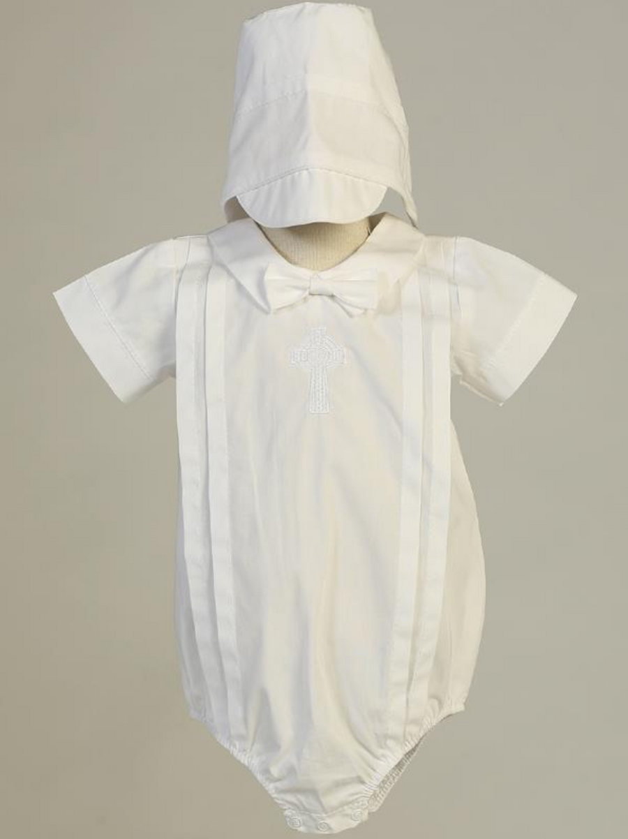 Boys White Cotton Romper Christening Outfit