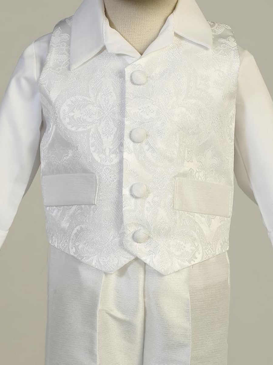 Boys White Brocade/Bengaline Christening Outfit