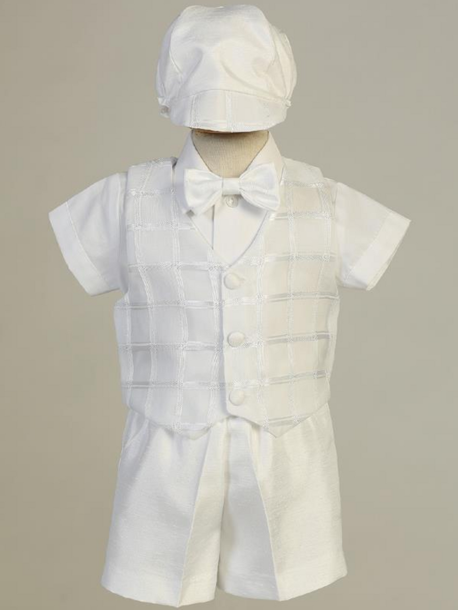 Boys White Organza Plaid Christening Outfit