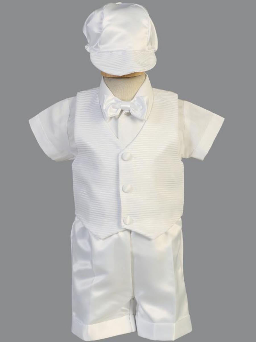Boys White Striped Organza Christening Outfit