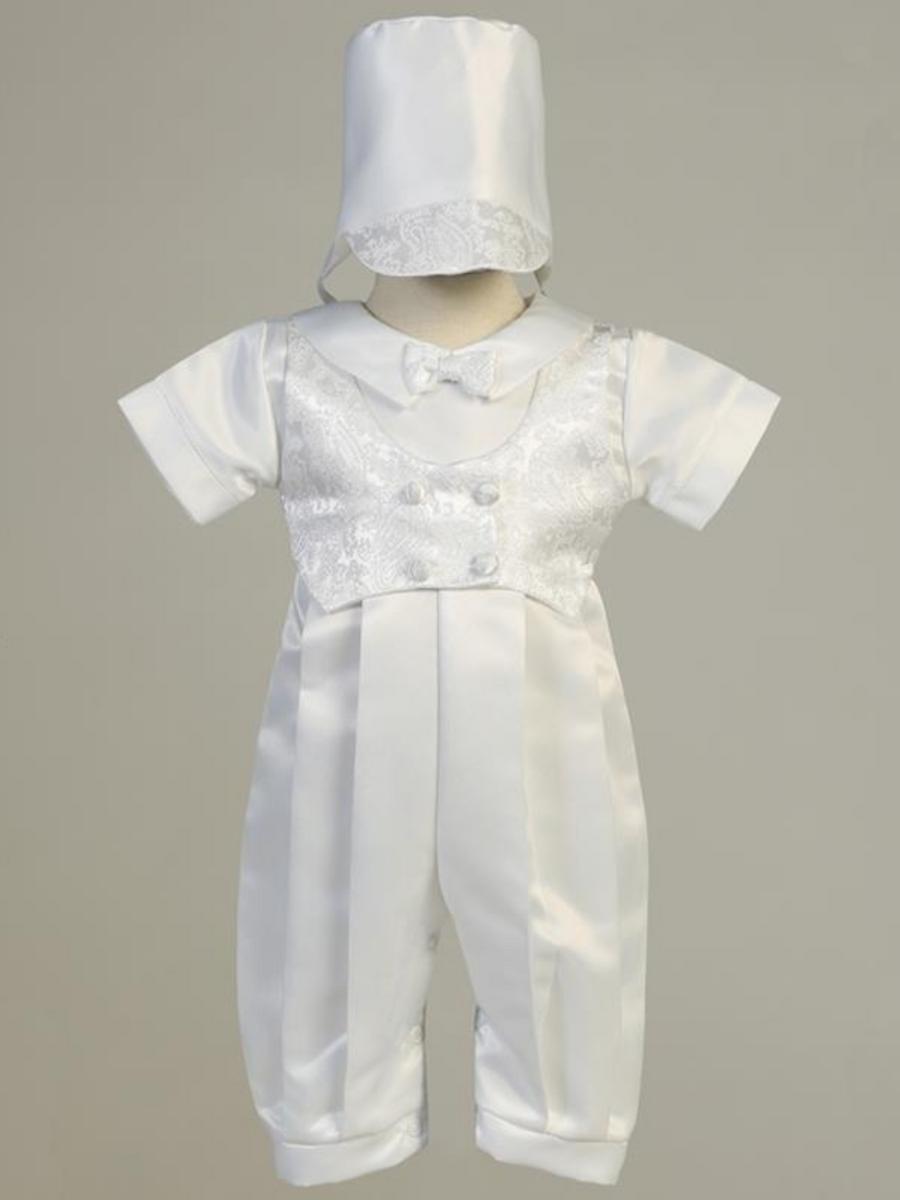 Boys White Satin Romper Christening Outfit