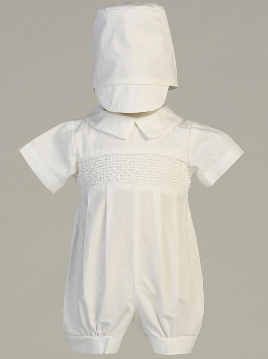 Boys White Smocked Cotton Romper Christening Outfit