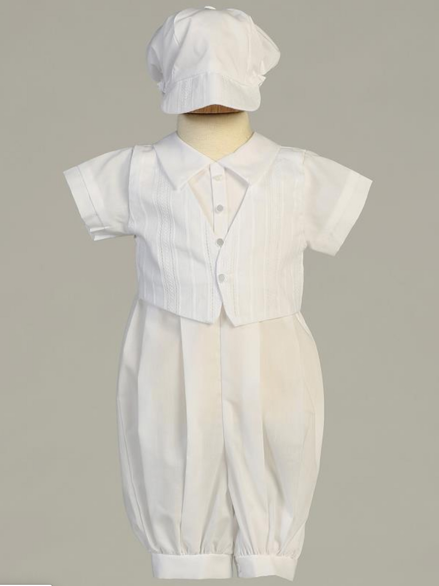 Boys White Embroidered Cotton Christening Outfit