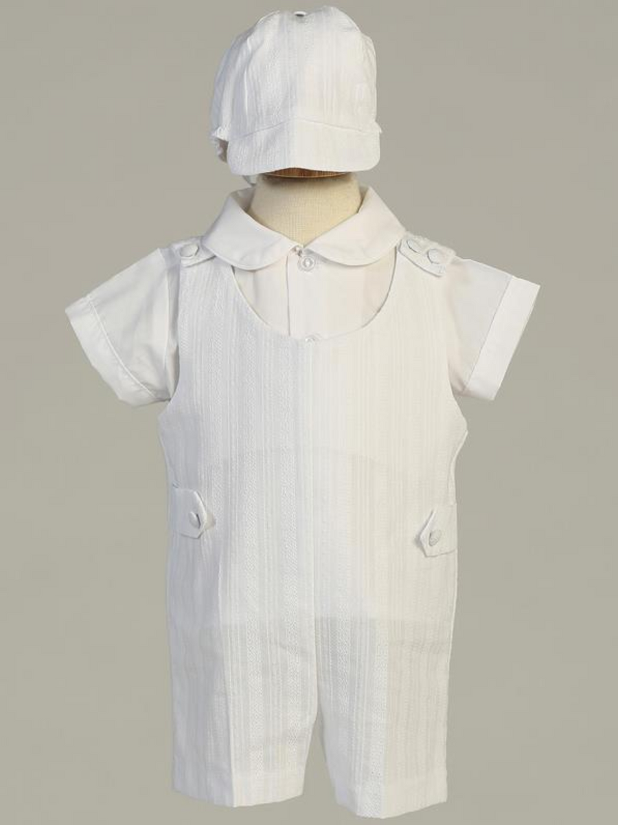 Boys White Embroidered Cotton Romper Christening Outfit (Archie)