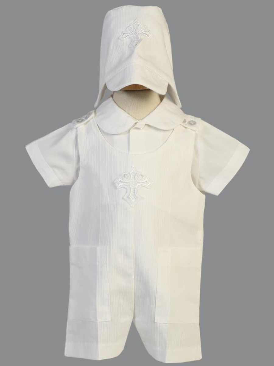 Boys White Cotton Romper with Cross Christening Outfit (Ehtan)