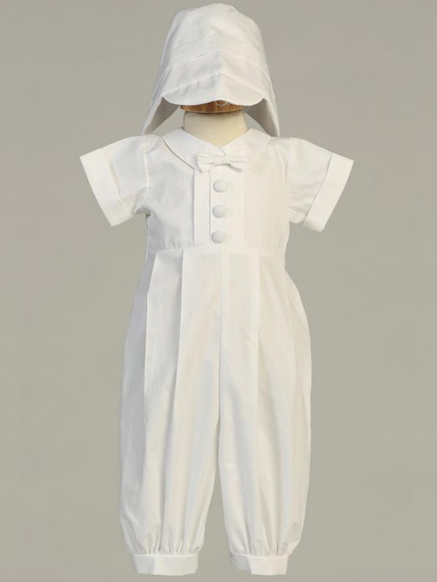 Boys White Long Cotton Romper Christening Outfit (Garvin)