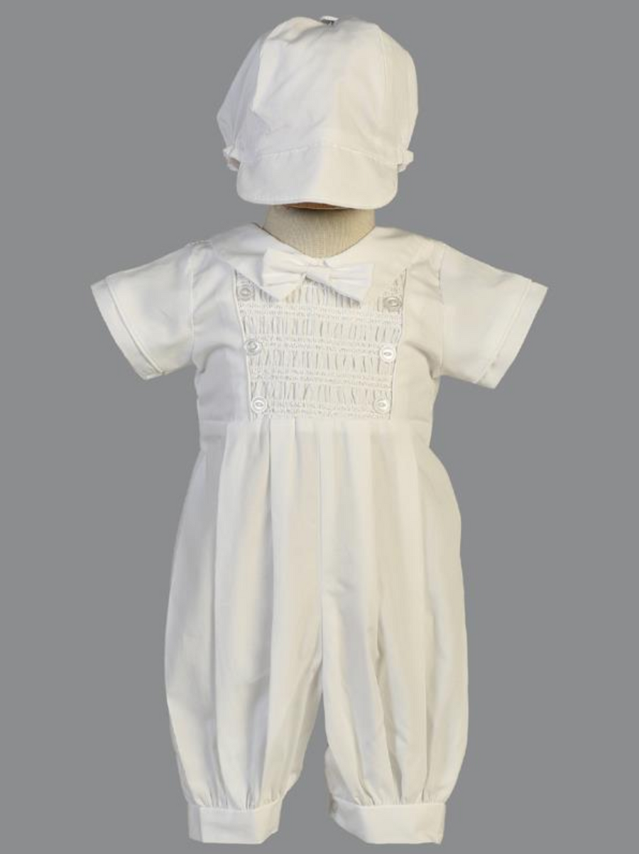Boys White Cotton Smocked Christening Outfit (Isaac)