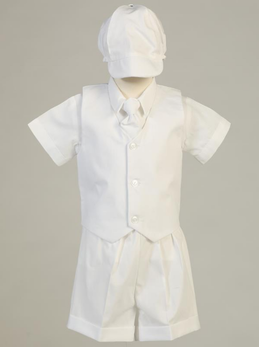 Boys White Bedford Mini Cord Christening Outfit (Peter)