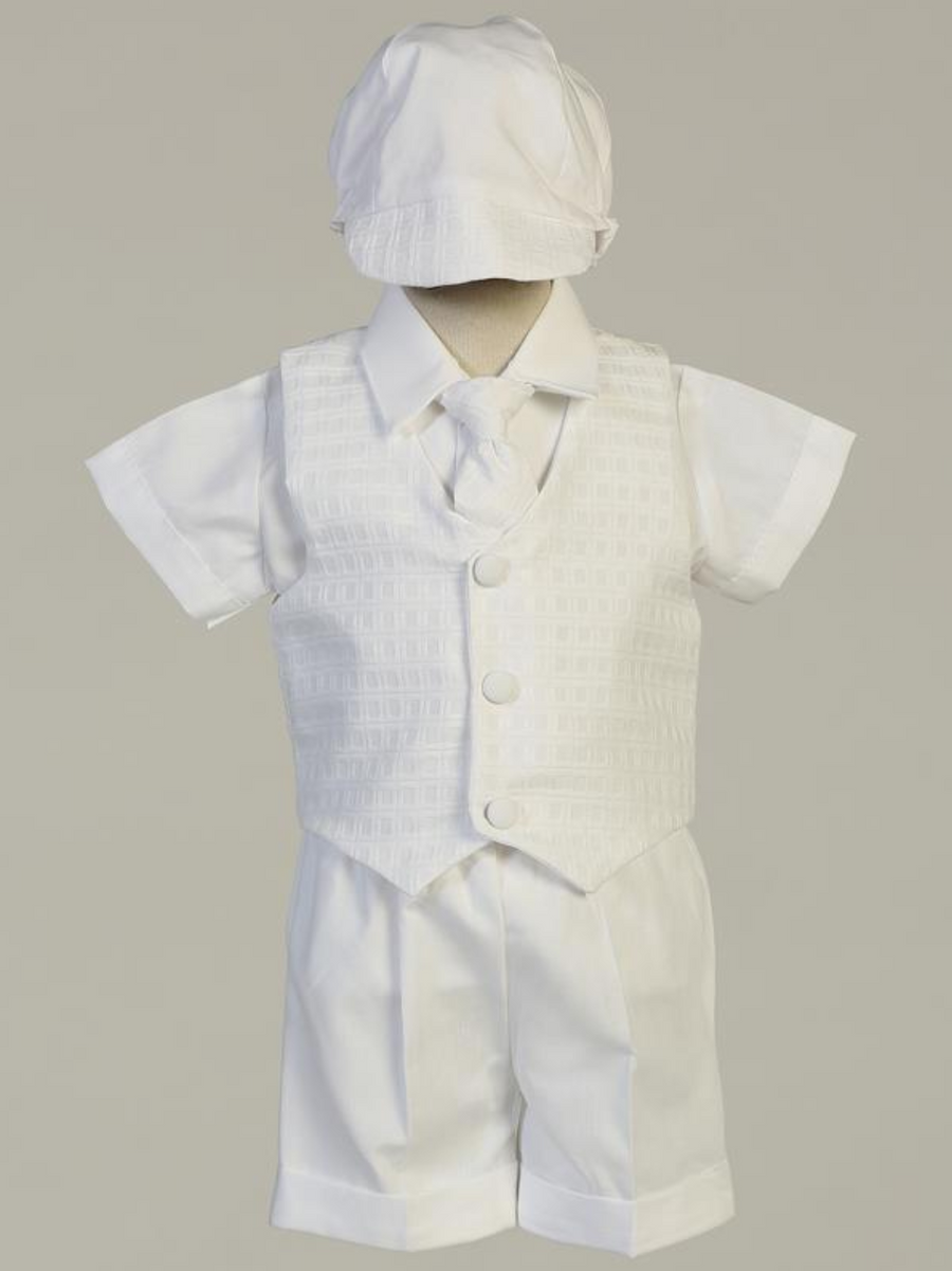 Boys White Poly-Plaid Christening Outfit (Chase)