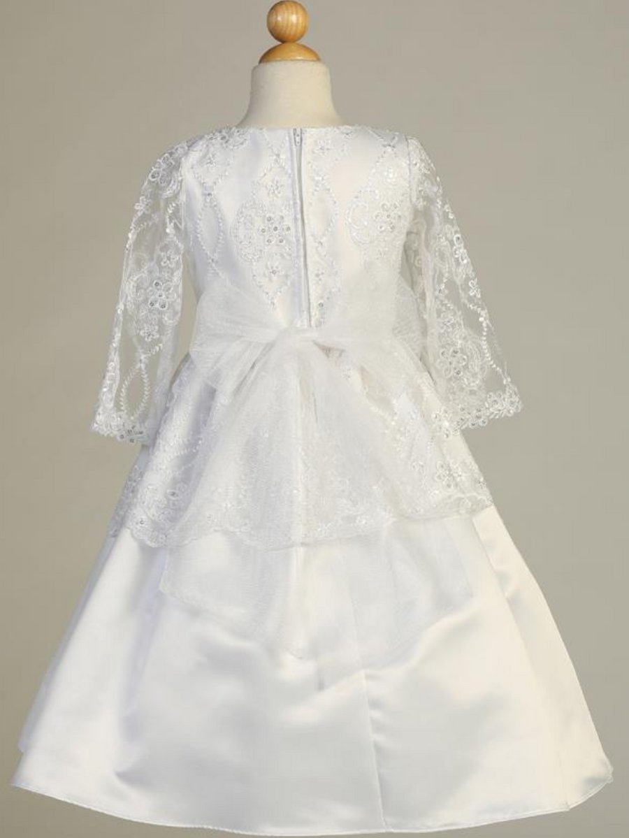 Girls White Embroidered Lace on Tulle Communion Dress