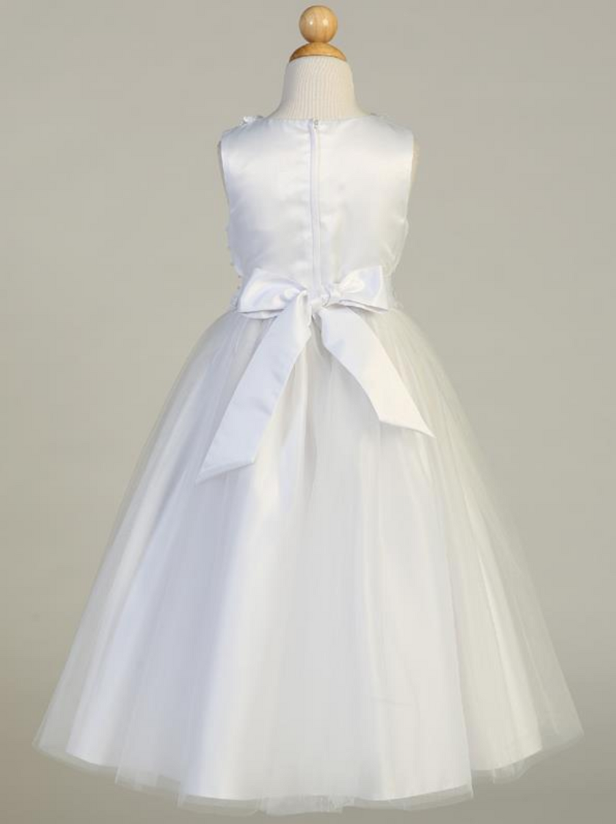 Girls White Satin with Pearl Communion Dress (SP645)