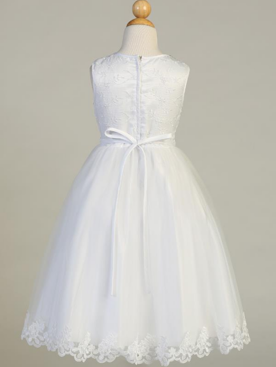 Girls White Sleeveless Embroidered Tulle Communion Dress (SP646)
