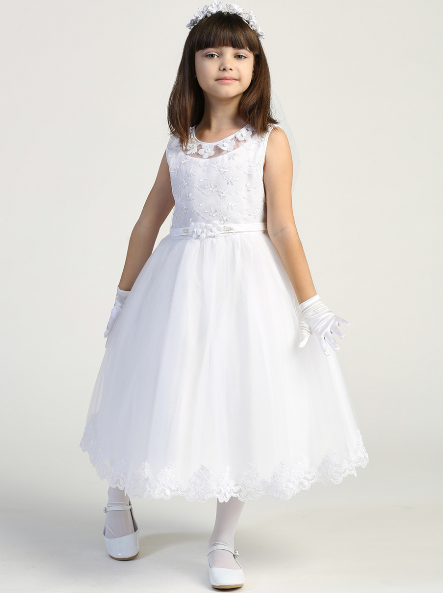Girls White Sleeveless Embroidered Tulle Communion Dress