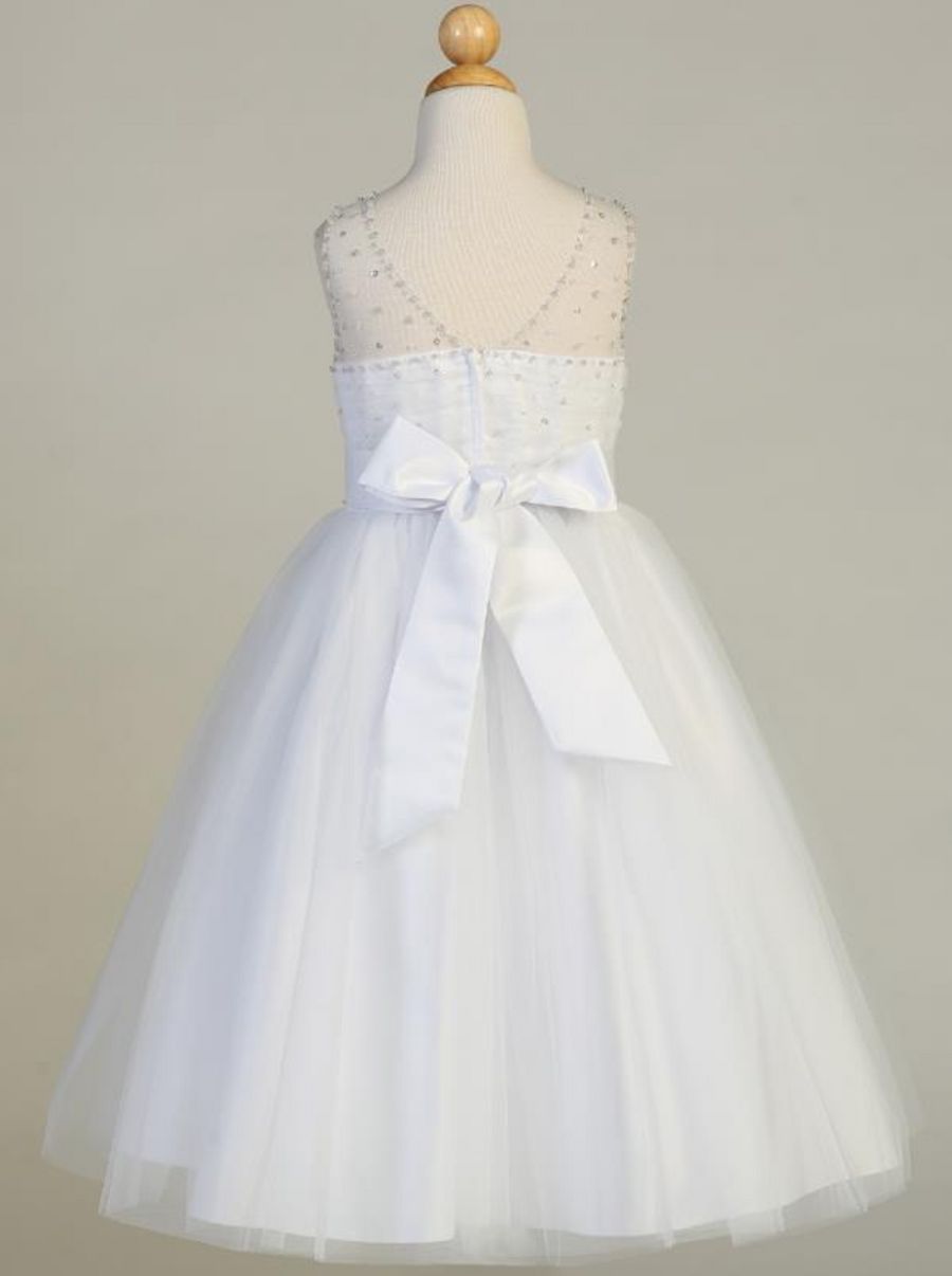 Girls White Beaded Tulle Communion Dress (SP647)
