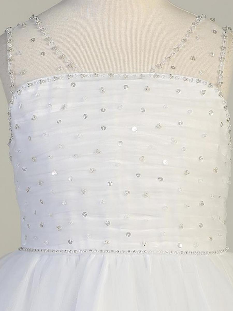 Girls White Beaded Tulle Communion Dress (SP647)