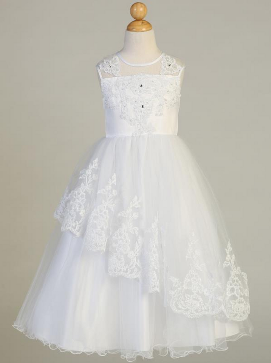 Girls White Tulle with Beaded Applique Communion Dress (SP648)