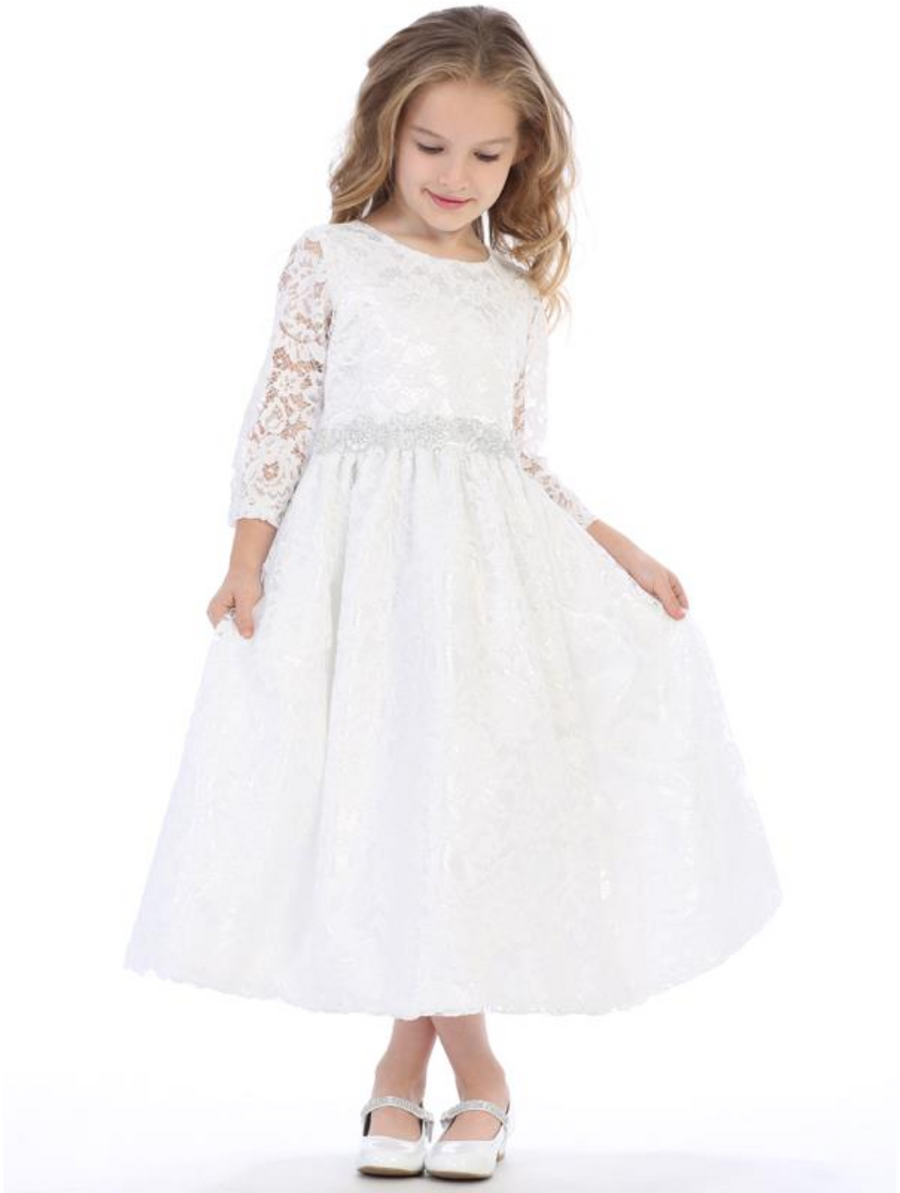 Girls White Lace with Silver Trim Communion Dress (SP156)