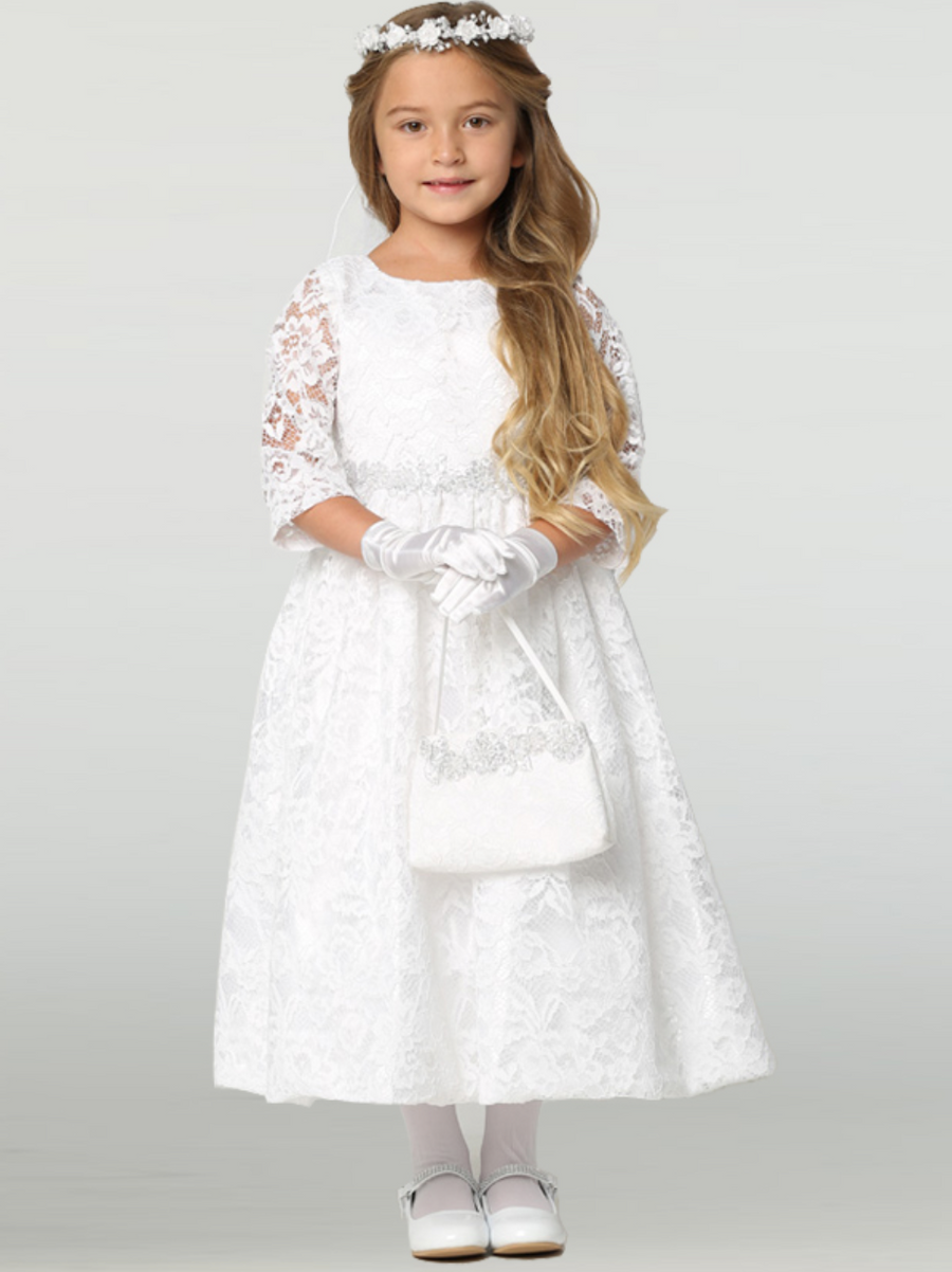 Girls White Lace with Silver Trim Communion Dress