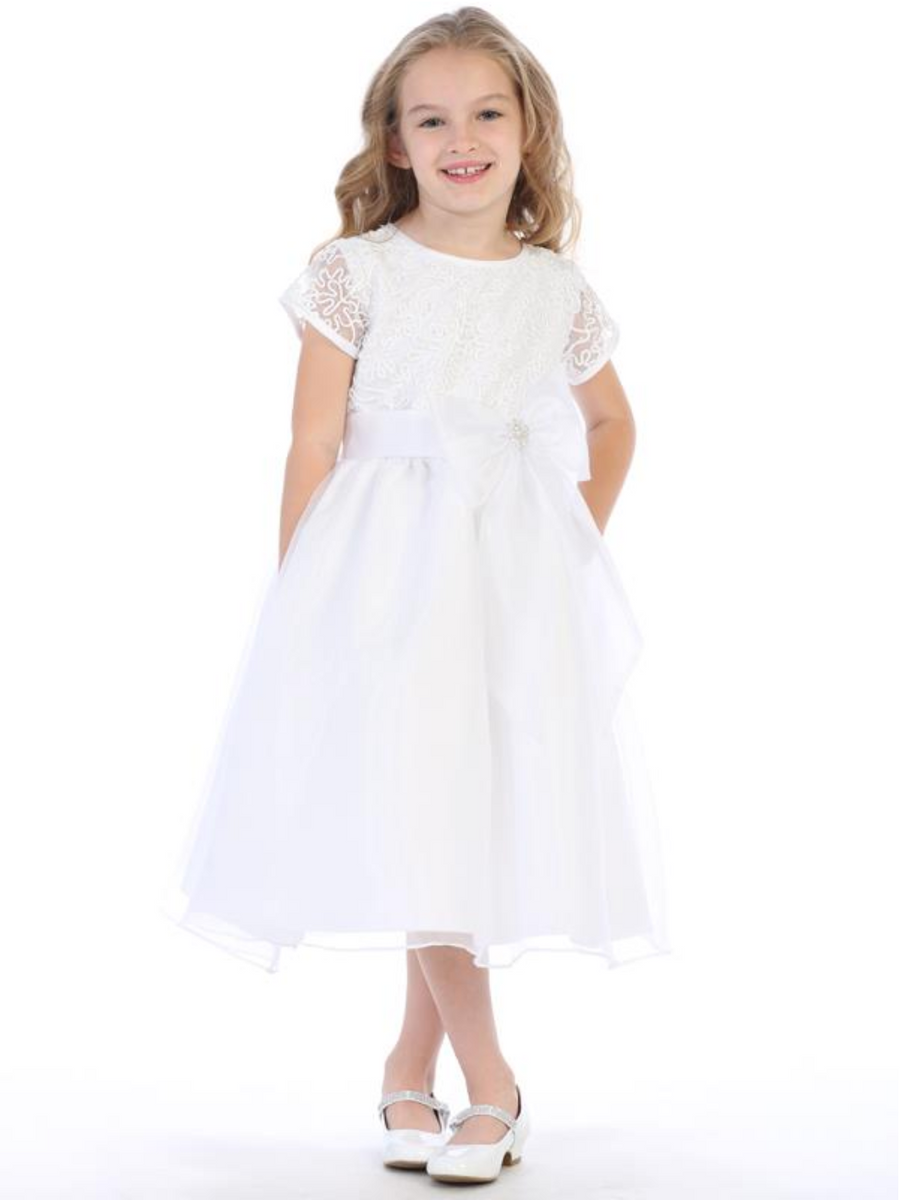 Girls White Corded Tulle and Sequins Communion Dress (SP155)