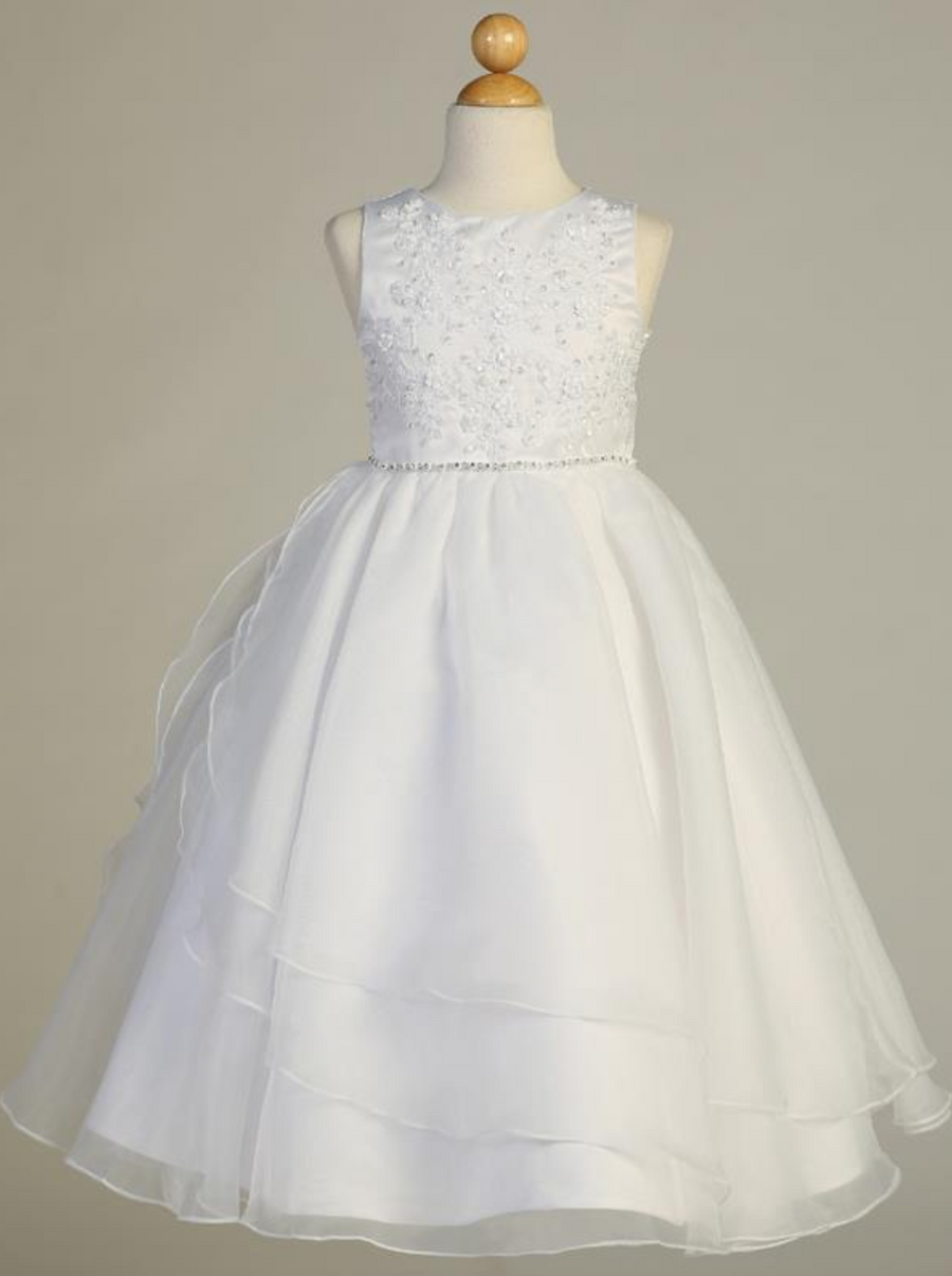 Girls White Embroidered Applique and Organza Communion Dress (SP604)