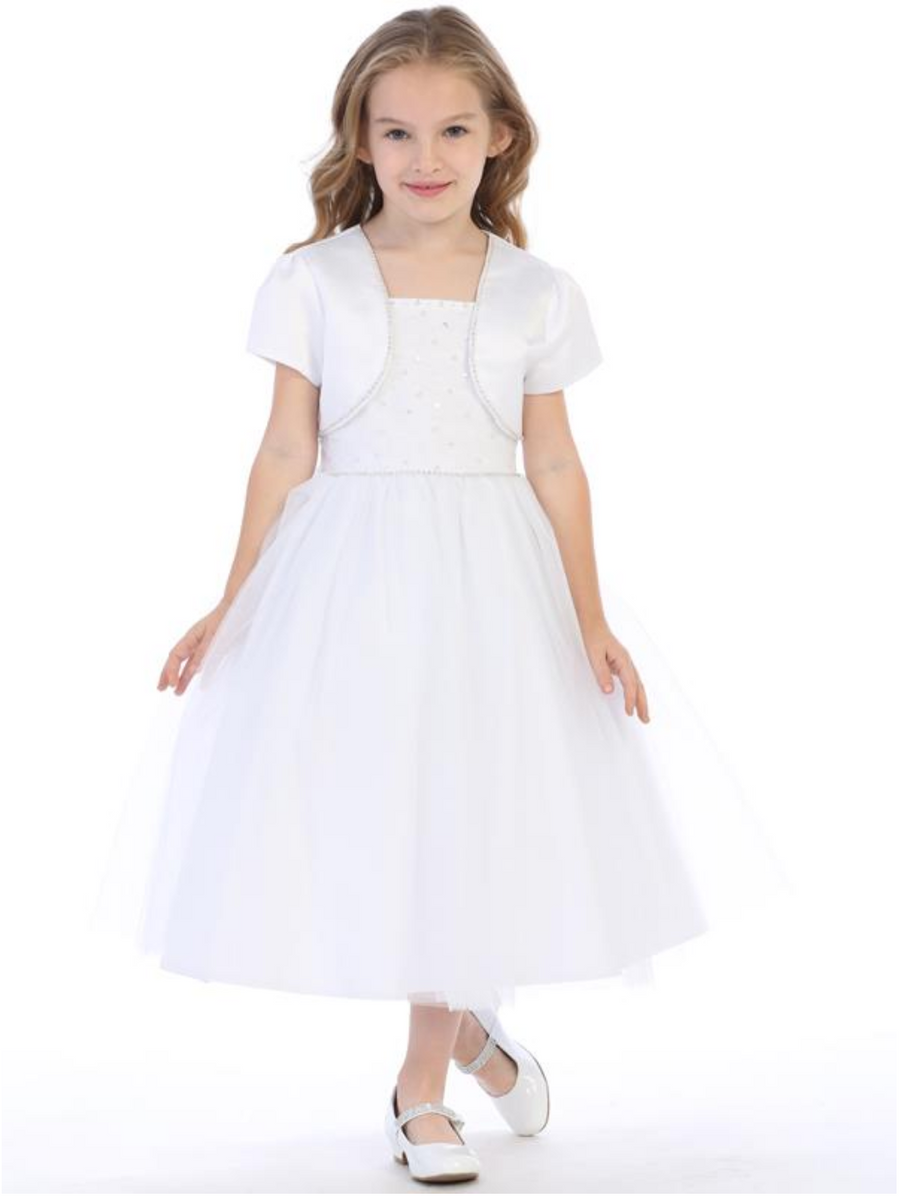 Girls White Communion Dress with Tulle, Beads, Sequins, and Rhinestones (SP641)