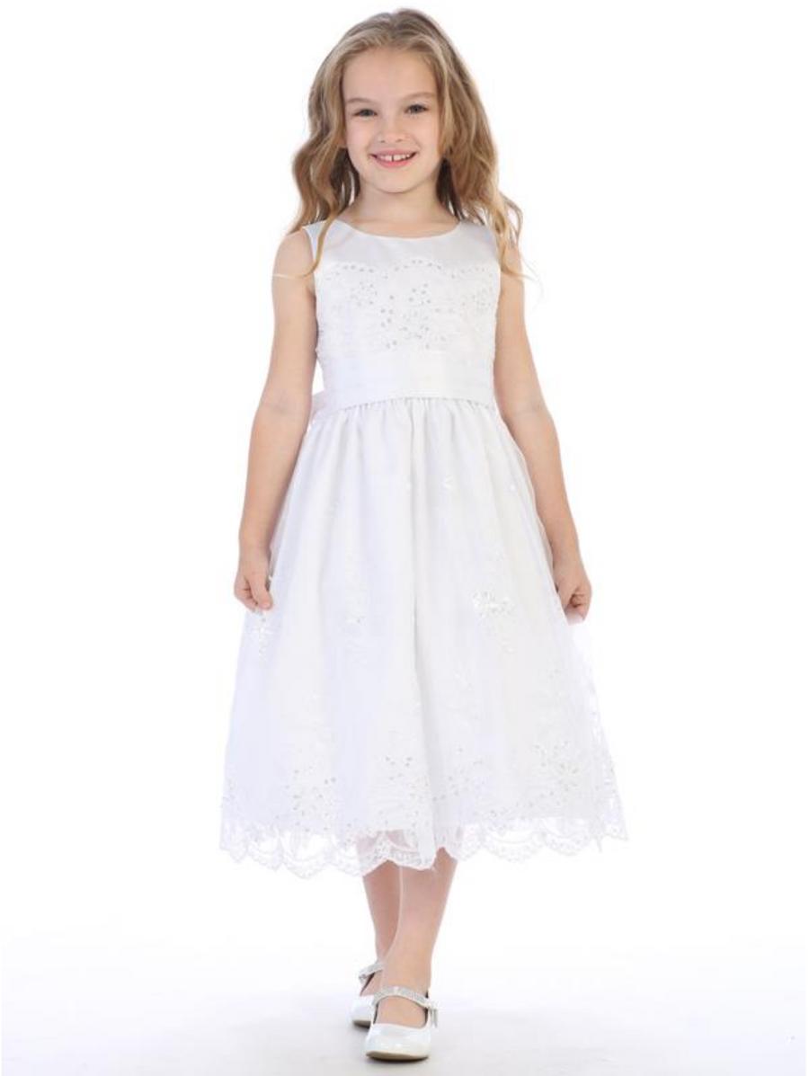 Girls White Embroidered Organza Communion Dress with Satin Trim (SP158)