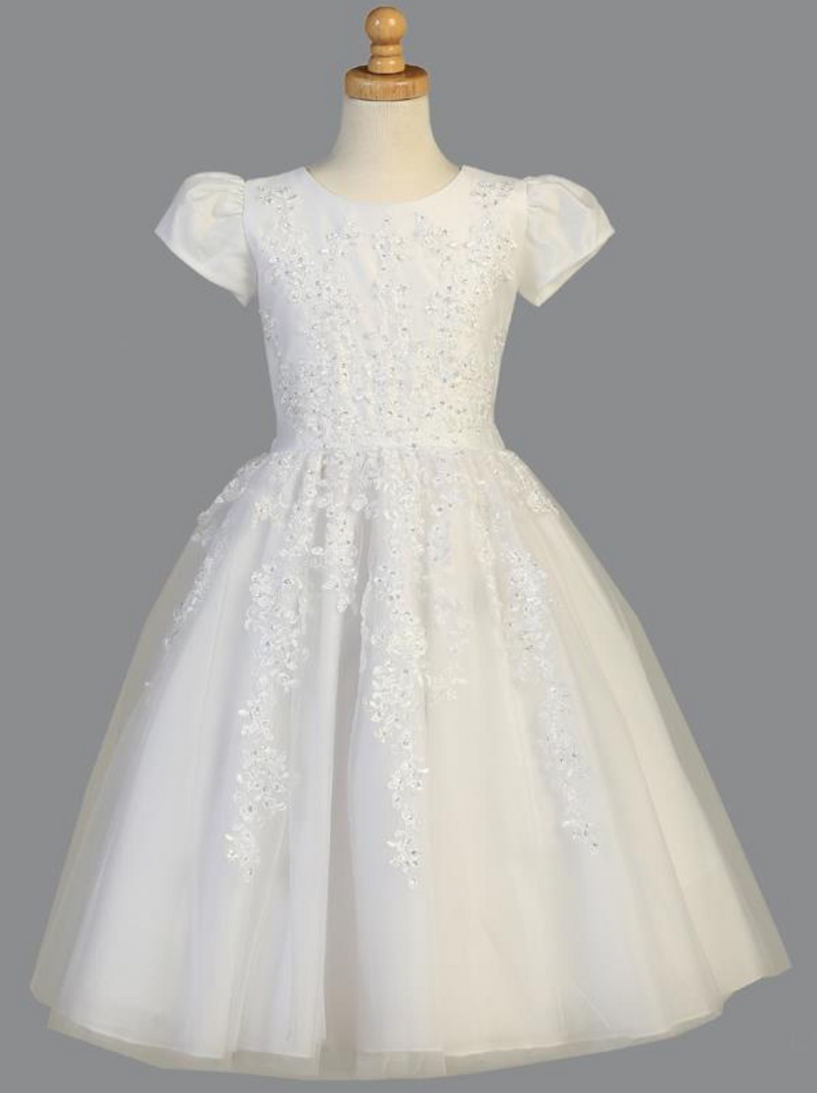 Girls White Tulle Beaded Applique Communion Dress (SP977)