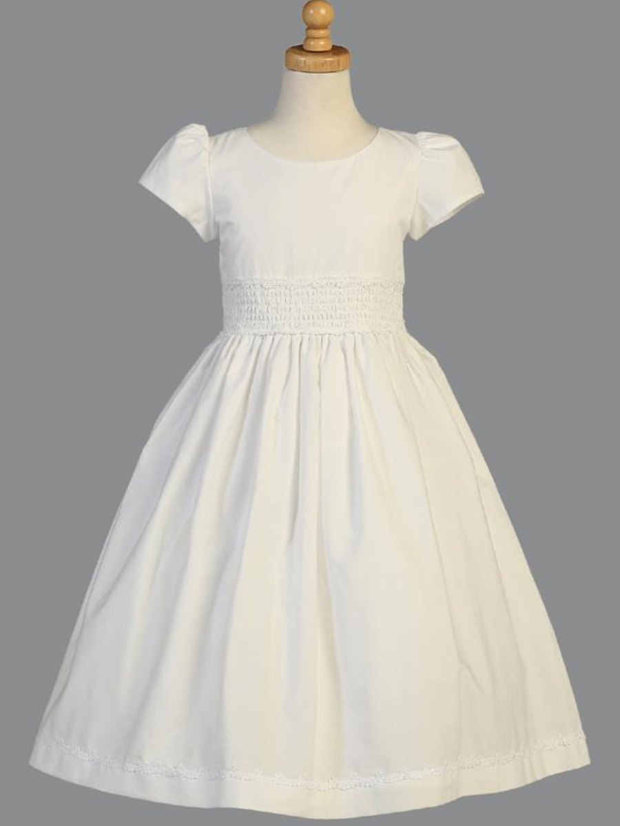 Girls White Cotton Smocked Communion Dress (SP108)