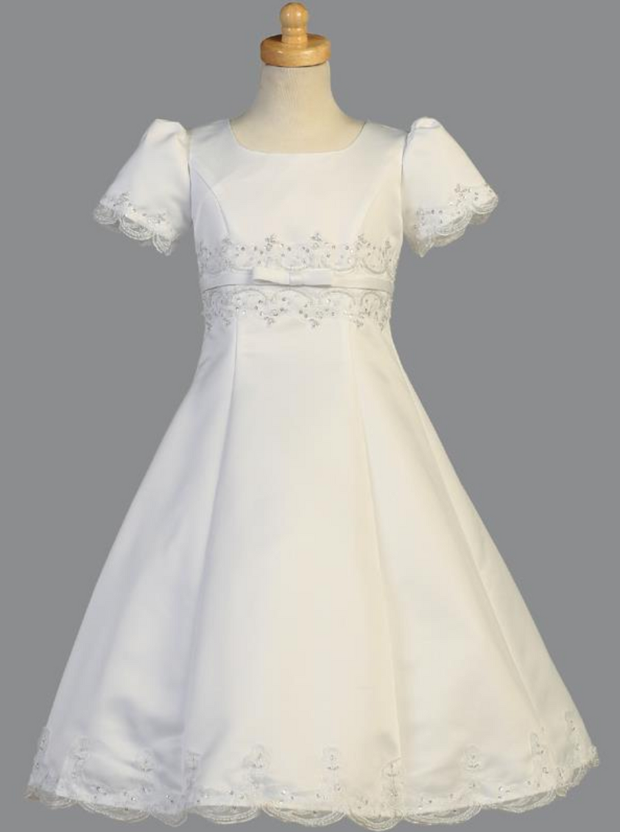 Girls White Satin A-Line Communion Dress (SP 713)