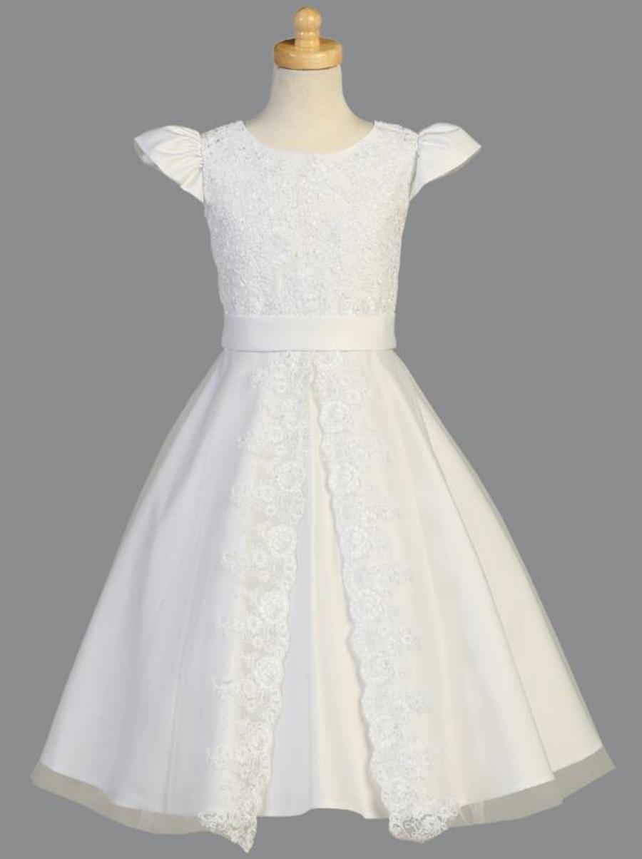 Girls White Satin Communion Dress (SP975)