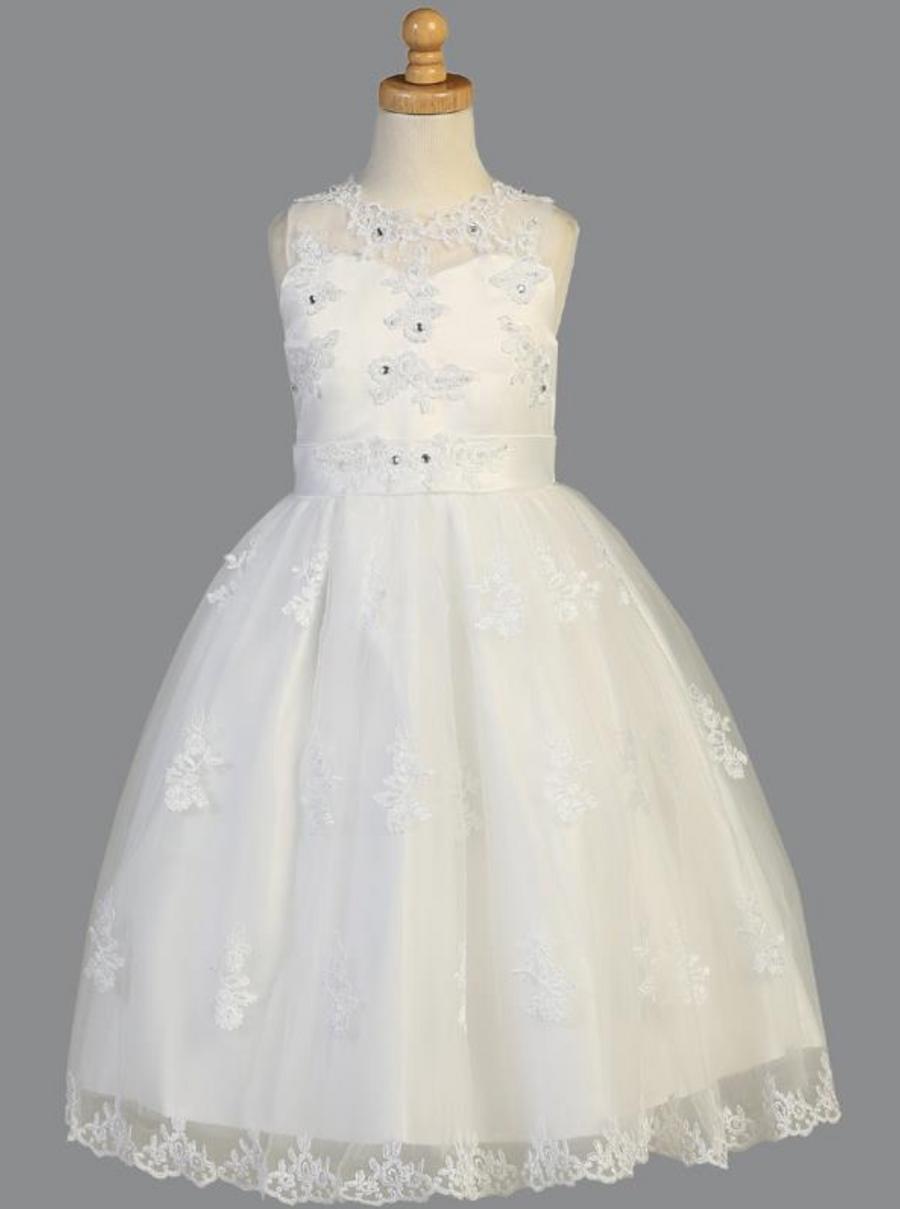 Girls White Tea Length Organza Dress (SP982)