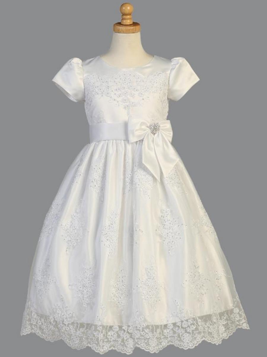 Girls White Corded Tulle Communion Dress (SP148)