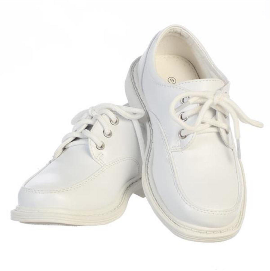 Boys White Lace-up Formal Shoes (David-White)