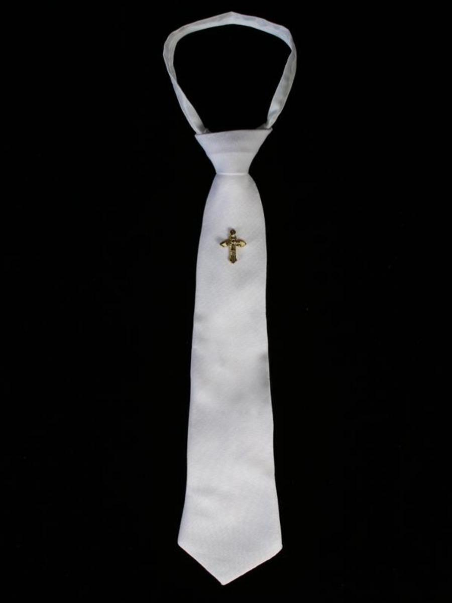 Boys-White-Zipper-Tie-Gold-Cross-EM6
