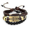 Genuine Brown Leather & Natural Stone Two Pieces Bracelet Set for Men - 2BRCLT19