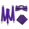 3pc Men's Purple Clip-on Suspenders, Plaid Bow Tie & Hanky Sets - FYBTHSU-PUR#1
